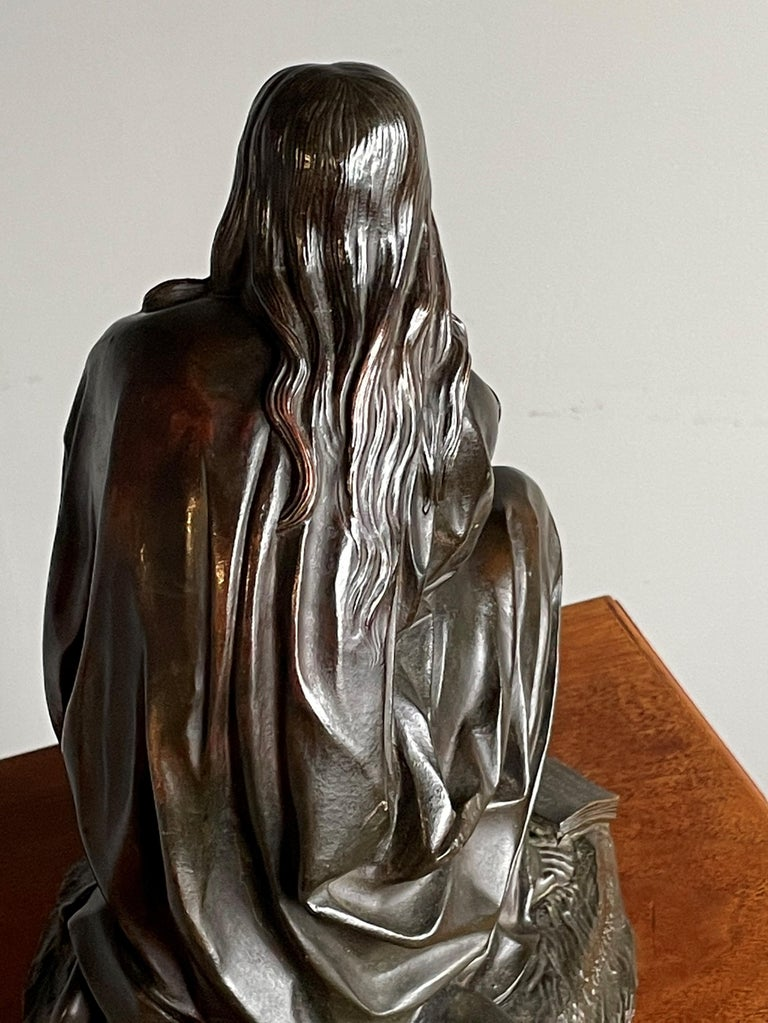 Cast Antique & Stunning Bronze Kneeling Angel Sculpture Marked 1841 by T. Gechter For Sale