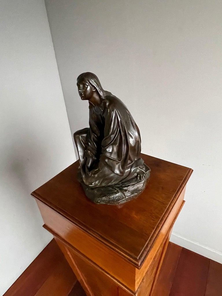 19th Century Antique & Stunning Bronze Kneeling Angel Sculpture Marked 1841 by T. Gechter For Sale