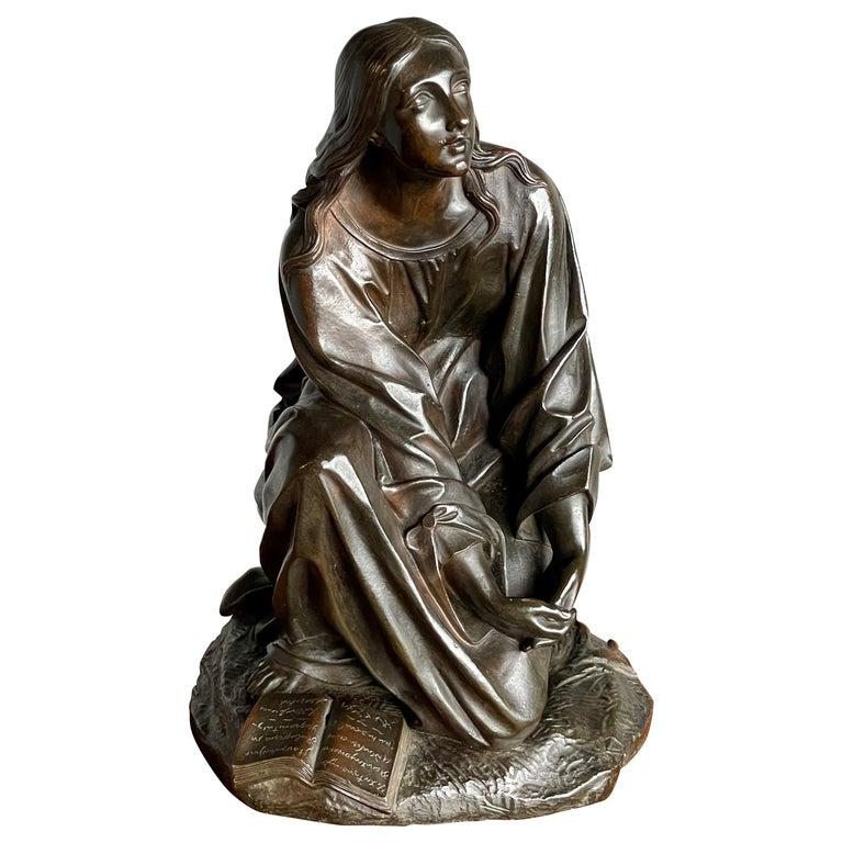 Antique & Stunning Bronze Kneeling Angel Sculpture Marked 1841 by T. Gechter For Sale