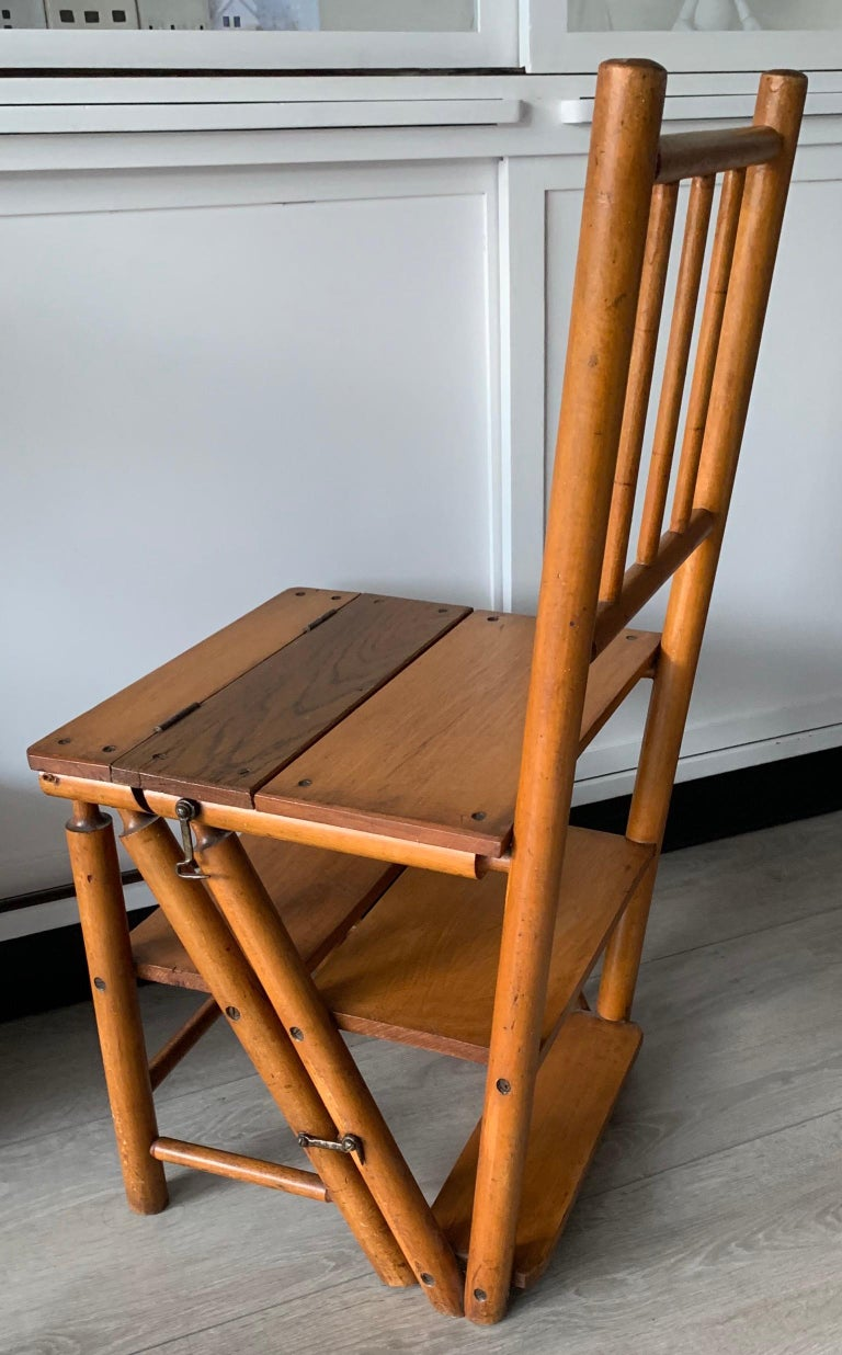 Antique Sturdy Wooden Arts Crafts Library Chair Bookcase Steps By Naether
