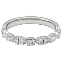 Roman Malakov, Antique Style 0.31 Carat Diamond Wedding Band in White Gold