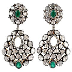 Antique Style 11.8 Carat Rose Cut Diamond Mughal Earrings