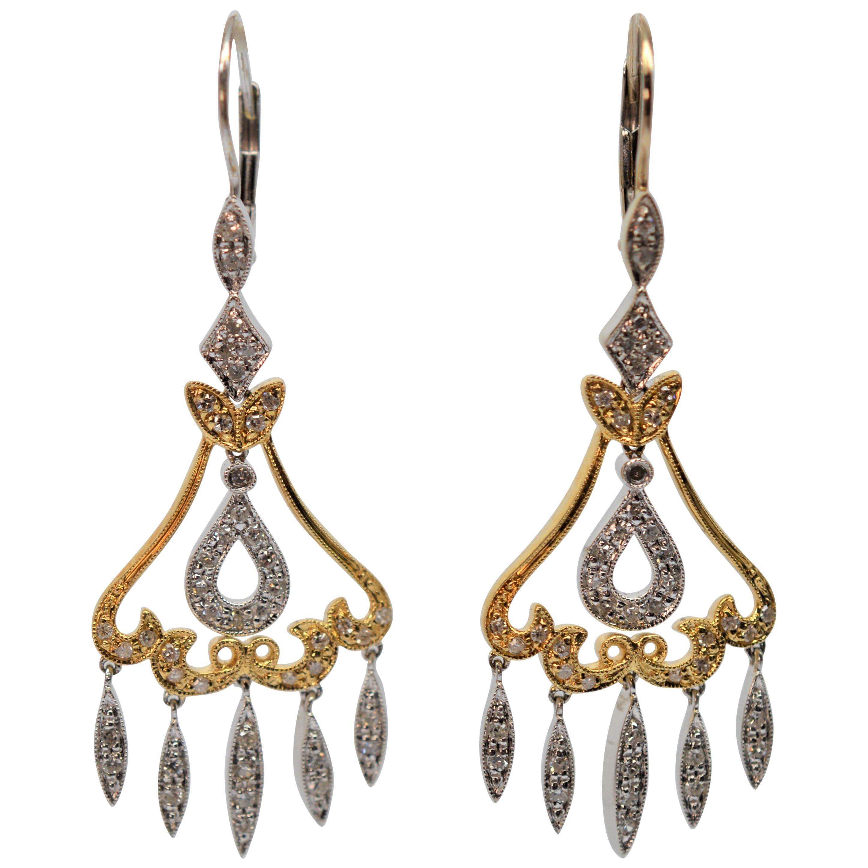 Antique Style 14 Karat White & Yellow Gold Diamond Chandelier Earrings