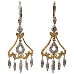 Antique Style 14K White & Yellow Gold Diamond Chandelier Earrings