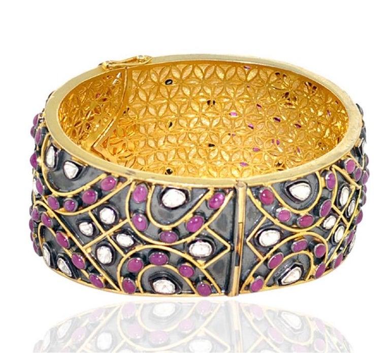 Artisan Antique Style 24.71 Carat Ruby Rose Cut Diamond Bracelet For Sale