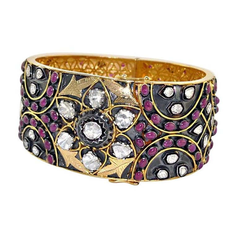 Antique Style 24.71 Carat Ruby Rose Cut Diamond Bracelet For Sale