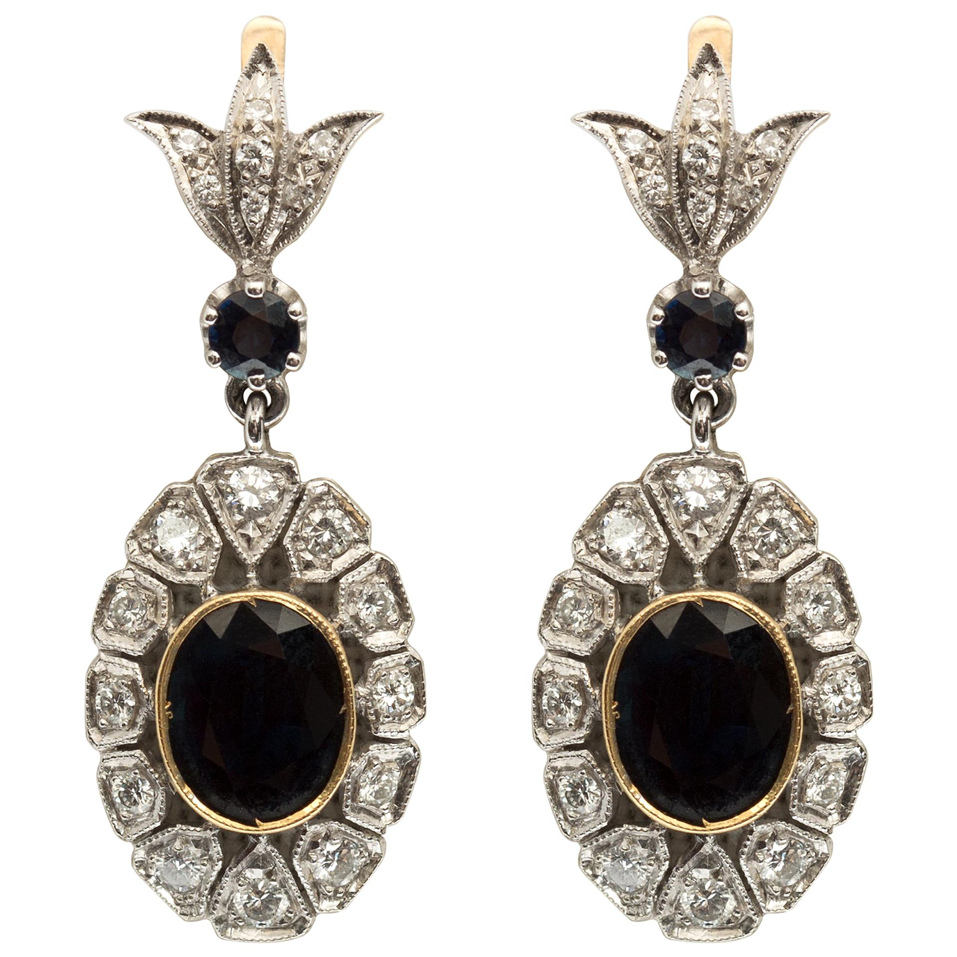 Antique Style 5. Sapphire and Diamond Drop Earrings