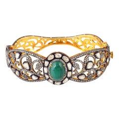 Antique Style 5.09 Carat Emerald Rose Cut Diamond Bangle Bracelet