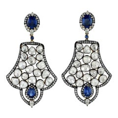 Antique Style 5.68 Carat Kyanite Rose Cut Diamond Earrings