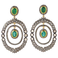 Antique Style 6.11 Carat Emerald Rose Cut Diamond Earrings