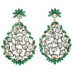 Antique Style 8.17 Carat Emerald Rose Cut Diamond Mughal Earrings