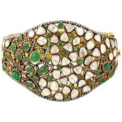 Antique Style 8.23 Carat Emerald Rose Cut Diamond Bracelet