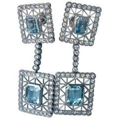 Art Deco Style Aquamarine Diamonds Dangle Earrings 18 Karat