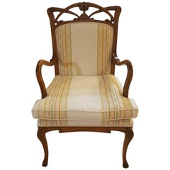 Antique Style Armchair Made of Cherry with Multi Tone Fabric