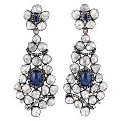 4.6 carats Blue Sapphire Diamond Antique Style Earrings