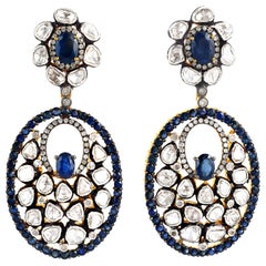 Antique Style Blue Sapphire Rose Cut Diamond Earrings