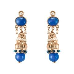 Antique Style Blue Stone Pearl Pendant Earrings