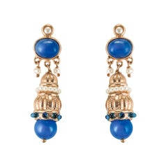 Antique Style Blue Stone Pearl Pendant Earrings