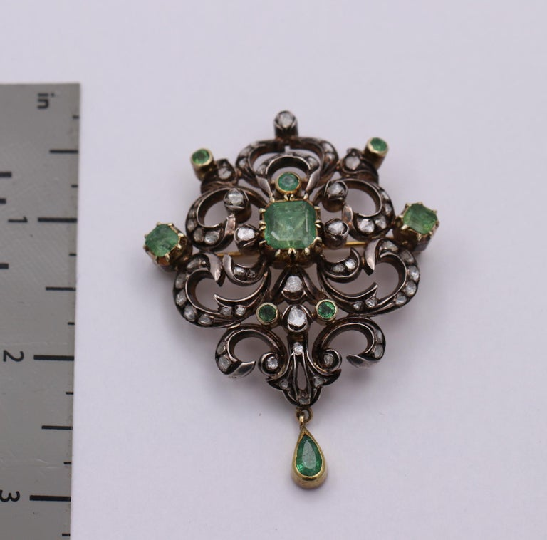 Early Victorian Antique Style Brooch with Diamonds and Emeralds For Sale