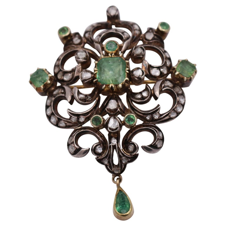 Antique Style Brooch with Diamonds and Emeralds For Sale