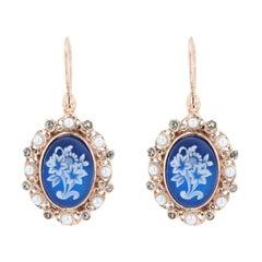 Antique Style Cameo Crystal Pearl Vermeil Drop Earrings