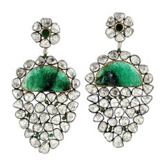 Antique Style Carved Emerald Rose Cut Diamond Earrings