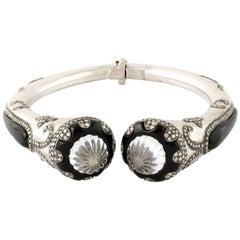 Antique Style Carved Quartz Black Onyx Diamond Bangle Bracelet