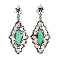Antique Style Chrysophrase Rose Cut Diamond Earrings