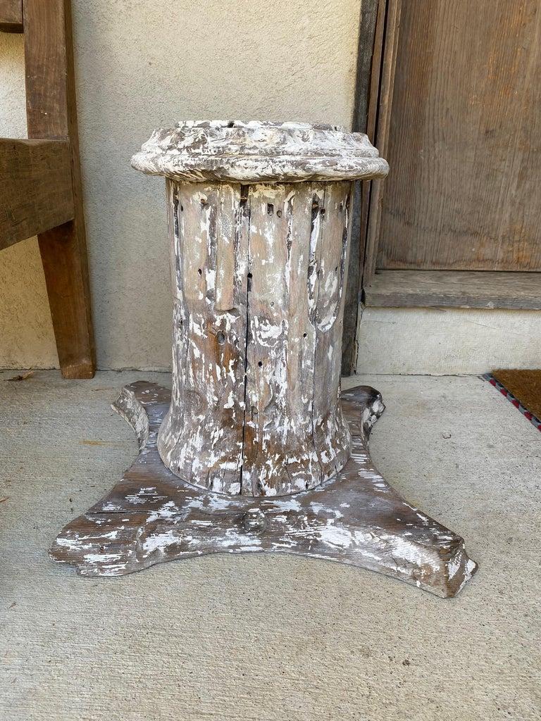 Neoclassical Revival Antique Style Column Wood Pedestal Plinth For Sale