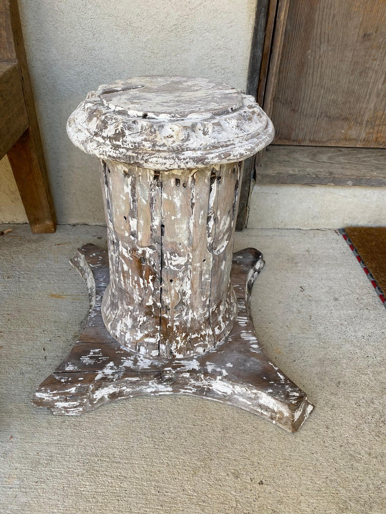 North American Antique Style Column Wood Pedestal Plinth For Sale