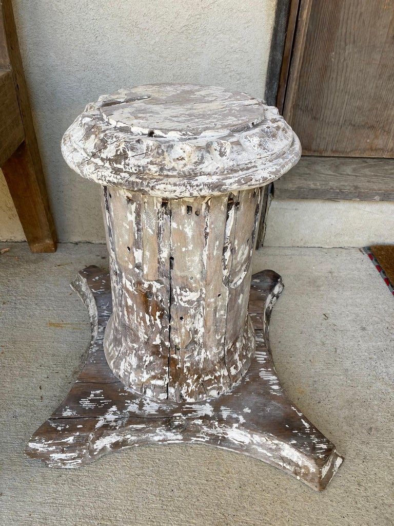 Hand-Carved Antique Style Column Wood Pedestal Plinth For Sale