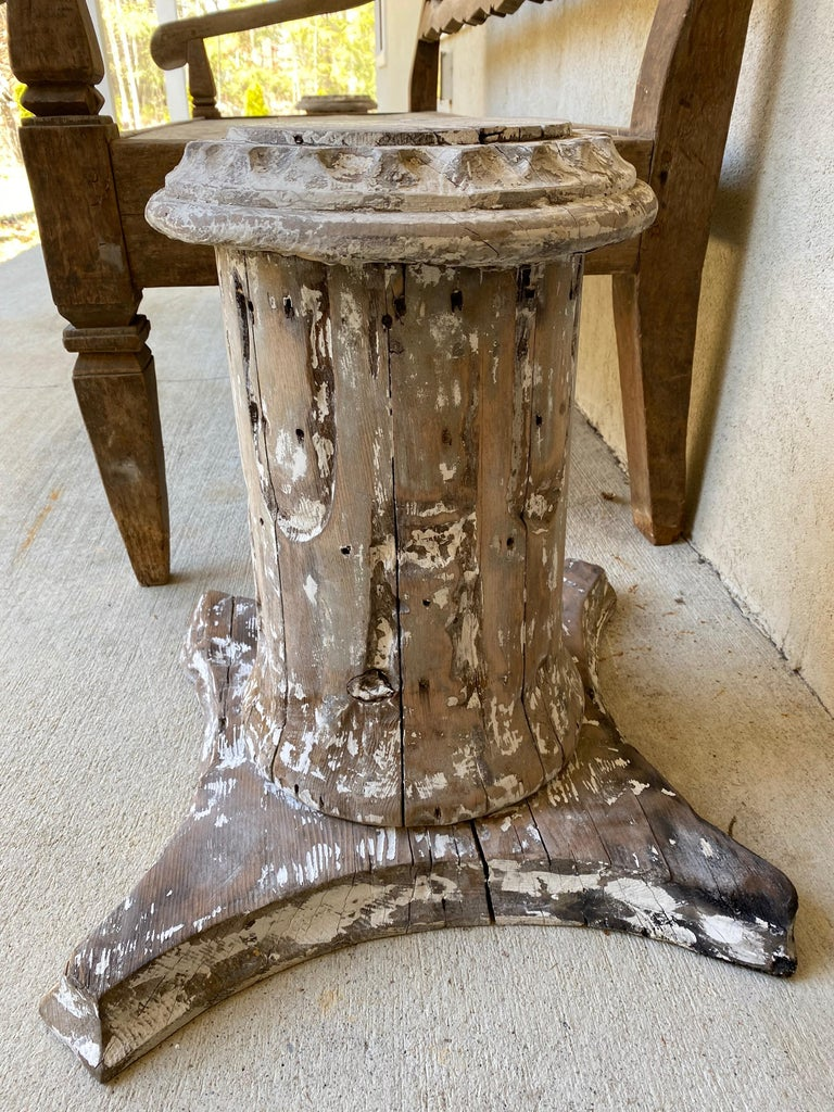 Antique Style Column Wood Pedestal Plinth In Fair Condition For Sale In Great Barrington, MA