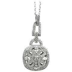 Antique Style Crivelli Diamond Medallion Pendant Necklace