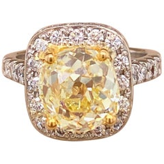 Antique Style Cushion 4.30 Carat Fancy Yellow VVS Diamond Ring 14k White Gold