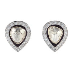 Antique Style Diamond 18 Karat Gold Pear Stud Earrings