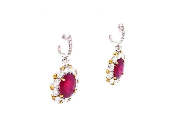 Antique style diamond and ruby cocktail earrings made with real/natural diamonds and rubies. Total Weight in Rubies: 11.59 carats (5.79 carats each). Total Diamond Weight: 3.26 carats (3.01 carats colorless + 0.25 carats fancy yellow diamonds).
