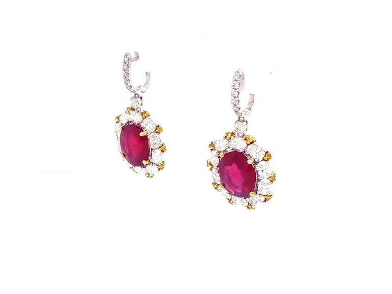 Brilliant Cut Antique Style Diamond and Ruby Earrings For Sale