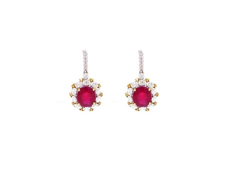 Antique Style Diamond and Ruby Earrings In New Condition For Sale In Miami, FL