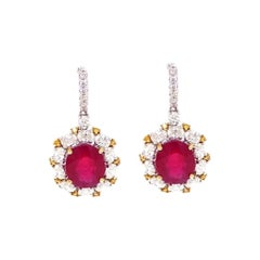 Antique Style Diamond and Ruby Earrings