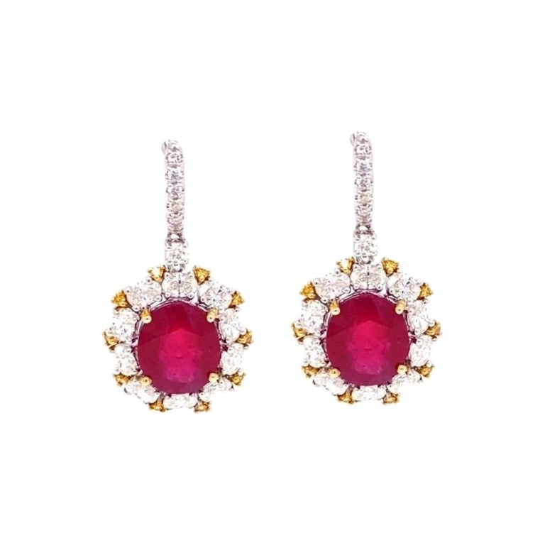 Antique Style Diamond and Ruby Earrings For Sale