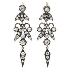 Silver Gold Brilliant Cut Diamond Antique Drop Chandelier Earrings