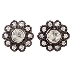 Antique Style Diamond Gold Daisy Stud Earrings