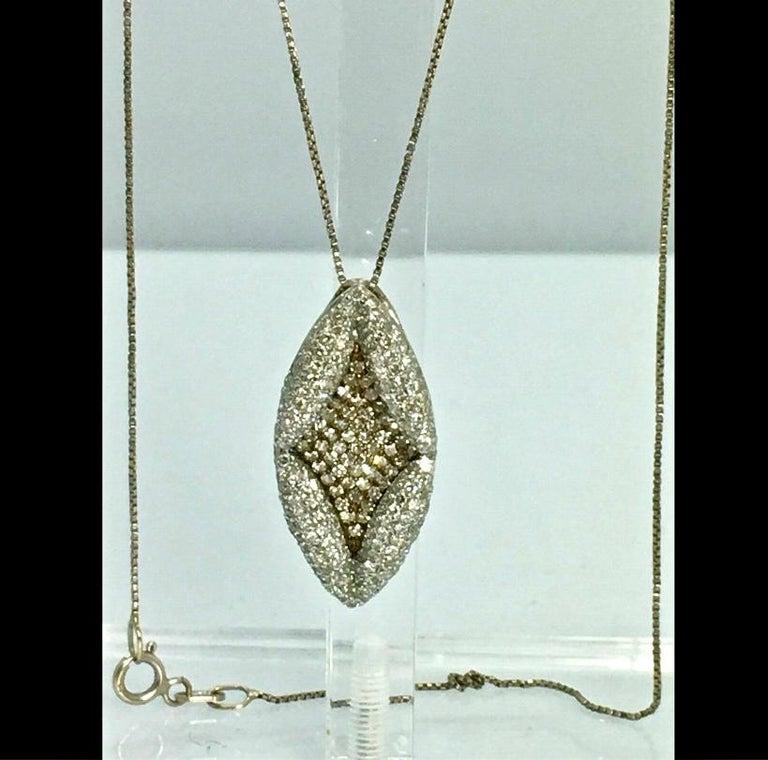 Round Cut Antique Style Diamond Pendant Gold For Sale