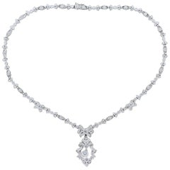 Antique Style Diamond Platinum Filigree Necklace