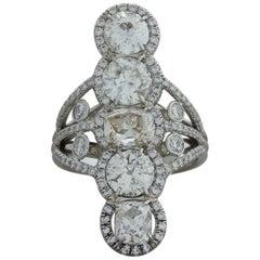 Antique Style Diamond Platinum Navette Ring