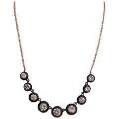 Antique Style Diamond Riviere Necklace with 18 Karat Rose Gold Chain