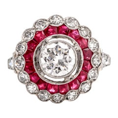 Antique Style Diamond Ruby Platinum Halo Cocktail Engagement Ring