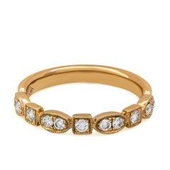 Antique Style Diamond Wedding Band in 18 Karat Rose Gold