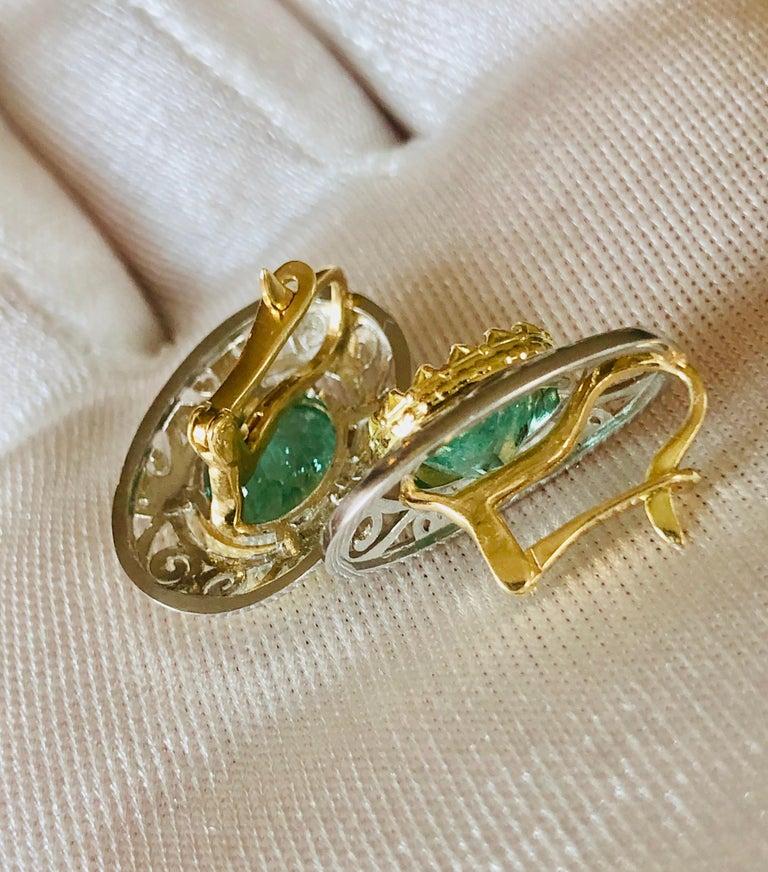 Colombian Natural Emerald Platinum  18 Karat Gold Drop Earrings For Sale 4