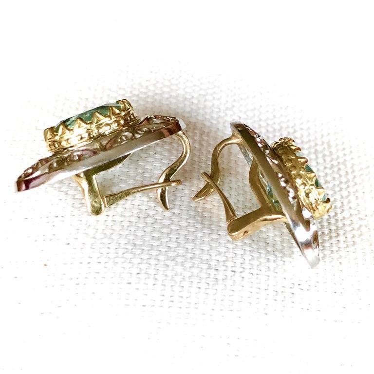 Colombian Natural Emerald Platinum  18 Karat Gold Drop Earrings For Sale 5